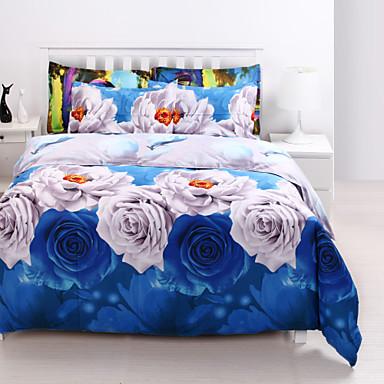 Bettbezug-Sets 3D Polyester / Baumwolle Reaktivdruck 4 Stück / 4-teilig (1 Bettbezug, 1 Bettlaken, 2 Kissenbezüge)