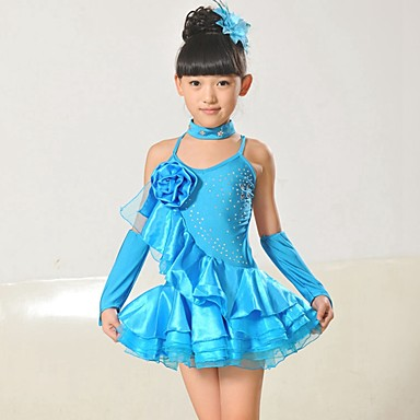 Latin Dans Drakter Barne Yteevne Chinlon / Taft Applikasjoner 4 deler Ermeløs Naturlig Kjoler / Neckwear / ArmbåndDress Length: S:53cm