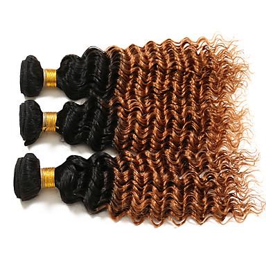 Siyah / Orta Auburn Bukle Kıvırcık Örgü Düz Brezilya Saçı İnsan saç örgüleri Saç uzatma 0.3kg