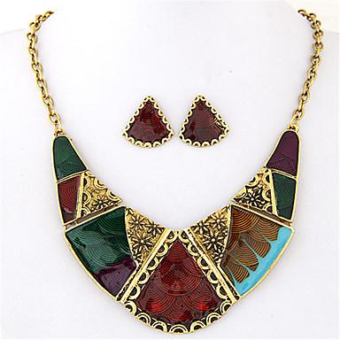 Damen Geometrisch Schmuck-Set - Erklärung, Retro, Europäisch Einschließen Halskette / Ohrringe Regenbogen Für Party Alltag Normal / Halsketten