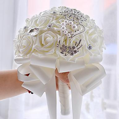 Bouquets de Noiva Buquês Casamento Festa / Noite Miçangas Strass Poliéster Cetim 10.24