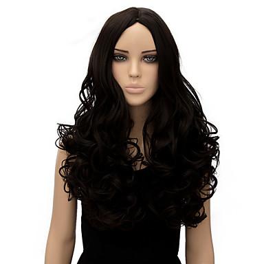 Frauen lange Körperwelle schwarze Farbe hochwertige synthetische Perücke