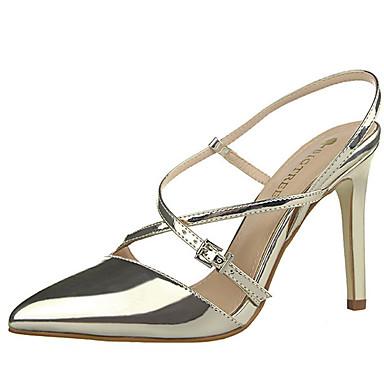 Mulheres Sapatos Couro Ecológico Verão Salto Agulha Prata / Dourado / Champanhe