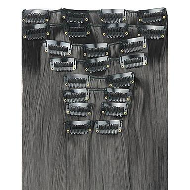 paróka sötét 62cm magas hőmérsékletű vezeték hossza egyenes haj szintetikus póthaj