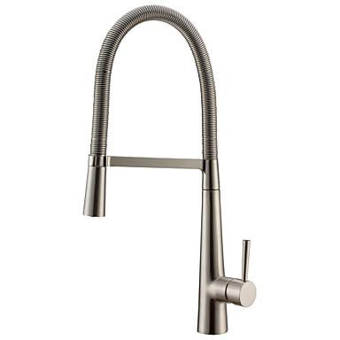 Køkken Vandhane - Enkelt håndtag Et Hul Nikkel Børstet Standard Tud Basin Moderne