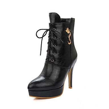 Naiset Kengät Tekonahka Talvi Kevät Syksy Muotisaappaat Bootsit Kävely Stilettikorko Korokekengät Solmittavat varten Kausaliteetti