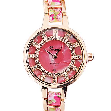 Mulheres Relógio de Moda Bracele Relógio Simulado Diamante Relógio Quartzo Relógio Casual imitação de diamante Lega Banda Flor Preta