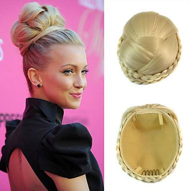 結婚式のブライダルアップヘアの髷パンクリップは、合成ストレートヘアエクステンションの漂白ブロンドの三つ編み