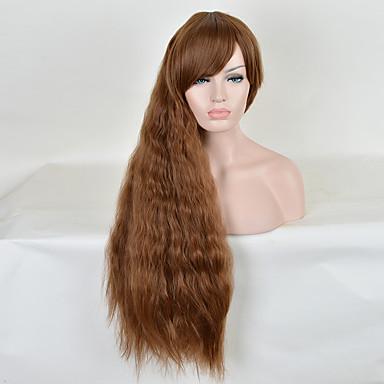 longa ondulação natural peruca sintética de calor barato resistentes mulheres cor marrom partido perucas sintéticas