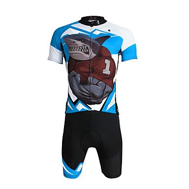 ILPALADINO Herre Kortærmet Cykeltrøje og shorts - Sort Cykel Shorts / Trøje / Tøjsæt, Åndbart, 3D Måtte, Hurtigtørrende, Ultraviolet Resistent, Refleksbånd Lycra Shark / Elastisk