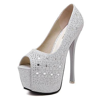 Damen Schuhe PU Frühling Sommer Club-Schuhe Leuchtende LED-Schuhe Komfort High Heels Stöckelabsatz Glitter für Party & Festivität Kleid