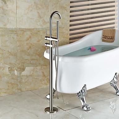 ברז למקלחת ברז לאמבטיה חדר רחצה כיור ברז - עכשווי ארט דקו / רטרו מודרני ניקל מוברש מקלחת ואמבטיה שסתום קרמי