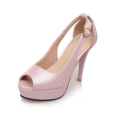 Femme Chaussures Similicuir Printemps Eté Automne Gladiateur Nouveauté Confort Talon Aiguille Plateau Boucle pour Mariage Décontracté