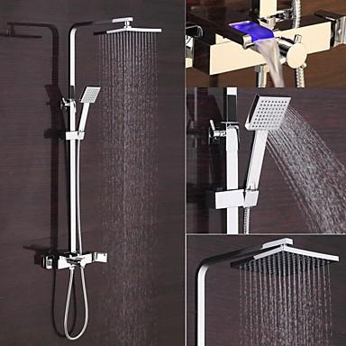 Moderna Conjunto Central Cascata Separada LED Válvula Cerâmica Duas Aberturas Monocomando Dois Buracos Cromado, Torneira de Chuveiro