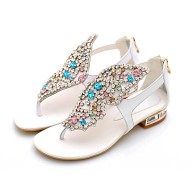 샌달 - 웨딩 / 캐쥬얼 / 파티/이브닝 - 여성의 신발 - 플립 플랍 - 레더렛 - 낮은 굽 - 블랙 / 화이트 / 골드