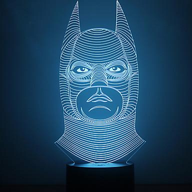 3d lllusion הוביל מנורת שולחן אור לילה מדהים עם צבע האור-משנה צורה באטמן הלילה