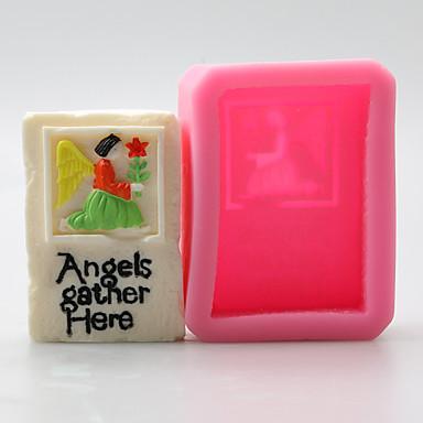 engel og blomst sjokolade silikon former, kakeformer, såpe muggsopp, dekorasjon verktøy bakeware
