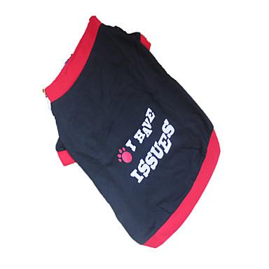 Hund T-shirt Hundekleidung Buchstabe & Nummer Zeichen Schwarz/Rot Baumwolle Kostüm Für Haustiere