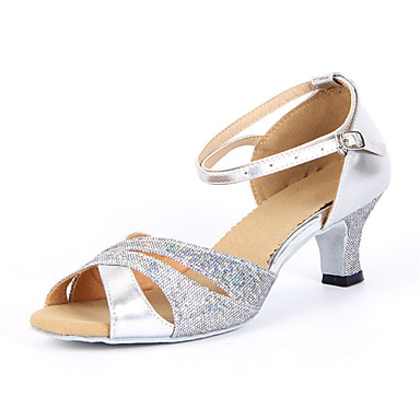 cheap Dance Shoes-Shall We® Women's Latin Shoes / Salsa Shoes Sparkling Glitter Sandal Buckle Chunky Heel Non Customizable Dance Shoes Silver / Blue / Gold / Suede / EU42