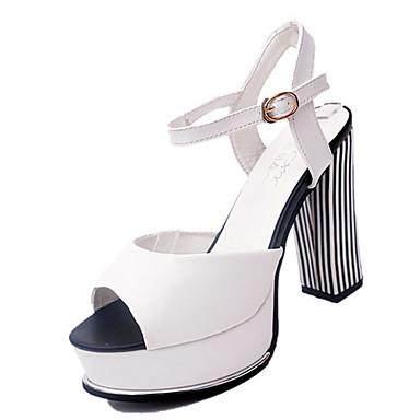 Mulheres Sapatos Couro Ecológico Verão Sandálias Salto Robusto / Salto de bloco Presilha Branco / Preto