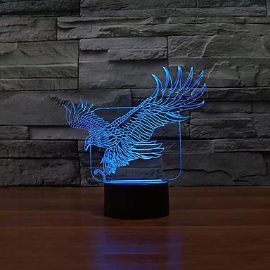 מנורת לילה מתג מגע צבעוניות 3D קריקטורת שולחן בנק ילדי כוח lampeagle הובילה usb האור הובילה מנורת 3D