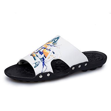 Herren Cloggs & Pantoletten Slippers & Flip-Flops PU Sommer Normal Walking Flacher Absatz Weiß Schwarz