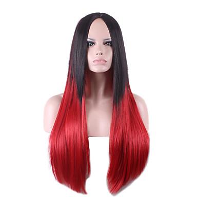 lang rett 26 tommer høy kvalitet varmebestandig hår kvinners parykker svart rødbrun graderende