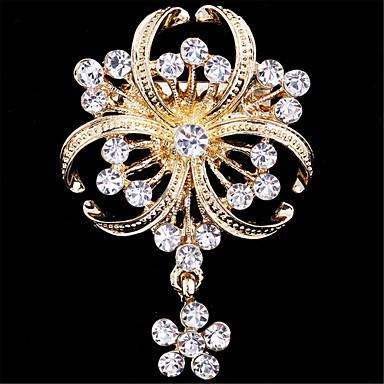 Mujer Broche - Diamante Sintético Flor Lujo, Moda Broche Dorado Para Boda / Fiesta / Ocasión especial
