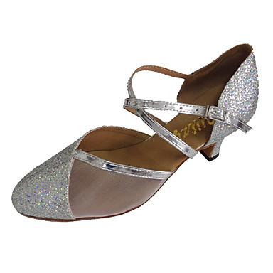 Damen Latin Modern Glitzer Sandalen Innen Professionell Maßgefertigter Absatz Silber Maßfertigung