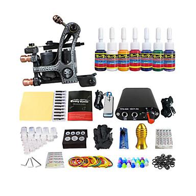 équipements débutants bobine couleur kit machine à tatouer mini-alimentation (couleur de la poignée de livraison aléatoire)