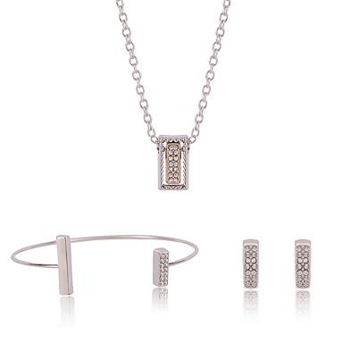 Conjunto de Jóias Colar / Pulseira Colar / Brincos Ajustável Adorável Caixas de presente e Bolsas Prata Colares Brincos Bracelete Para