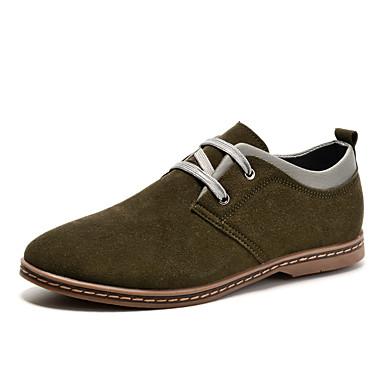Masculino Sapatos Couro Inverno Primavera Verão Outono Conforto Oxfords Caminhada Sem Salto Cadarço para Casual Azul Escuro Amarelo Verde