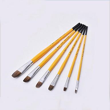 six pinceaux de haute qualité mis outils de peinture
