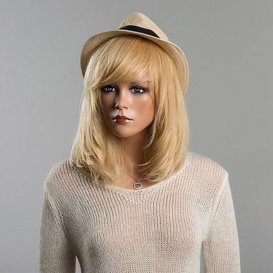 Human Hair Capless Wigs Human Hair Straight Bob Haircut / With Bangs Medium Length Capless Wig Women's