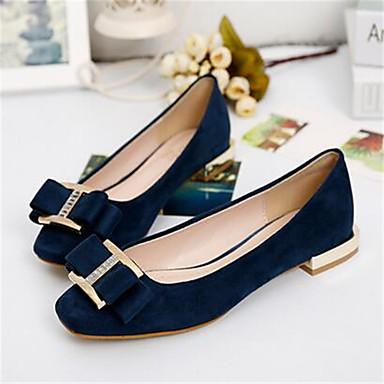 בגדי ריקוד נשים נעליים PU קיץ נוחות שטוחות שטוח פפיון ל קזו'אל שחור כחול