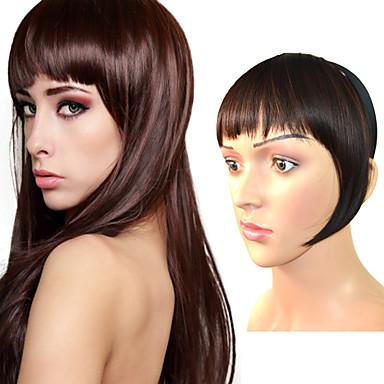 Marrom Escuro Marrom Médio Loiro Castanho Claro Castanho Escuro Reto Franja 0.2kg Cabelo Sintético Pedaço de cabelo Alongamento