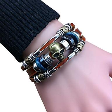 Bracelet Bracelets en cuir Alliage / Cuir Vintage Quotidien / Décontracté Bijoux Cadeau Brun,1pc