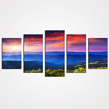 Paisagem Floral/Botânico Modern Realismo Pastoril,5 Painéis Tela Horizontal Estampado Decoração de Parede For Decoração para casa