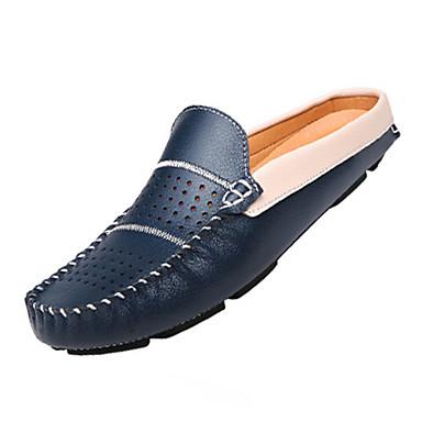 Herren Loafers & Slip-Ons Komfort Leder Frühling Herbst Normal Walking Komfort Flacher Absatz Weiß Schwarz Dunkelblau
