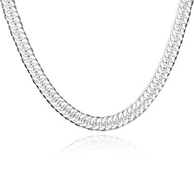 男性用 チェーンネックレス 銀メッキ ファッション ホワイト/シルバー ジュエリー パーティー 1個