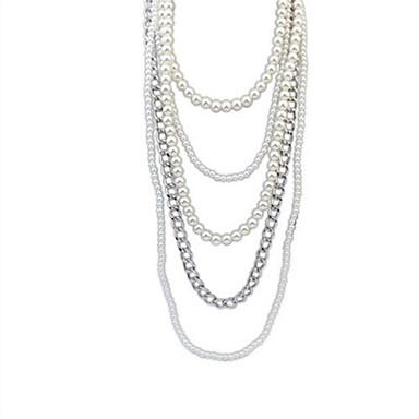 billige Mote Halskjede-Dame Strands halskjede Multi Layer Vintage Europeisk Mote Imitert Perle Legering Sølv Halskjeder Smykker Til Bryllup Fest Daglig Avslappet Arbeid