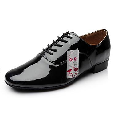 Men's Modern Leatherette Heel Performance Lace-up Chunky Heel Black White 1