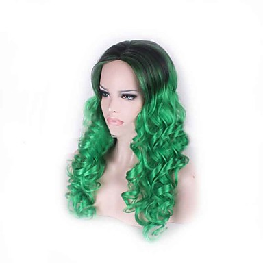 kinky krøllete lys grønn lang lengde hot salg populære fargen damene syntetiske parykker