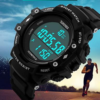 SKMEI Herrn Digitaluhr Sportuhr digital Alarm Kalender Wasserdicht Schrittzähler Stopuhr Drei-Zeit-Zonen Duale Zeitzonen LCD leuchtend