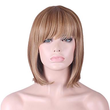 Perucas sintéticas Liso / Kinky Liso Corte Bob / Com Franjas Cabelo Sintético Riscas Naturais Marrom Peruca Mulheres Comprimento médio