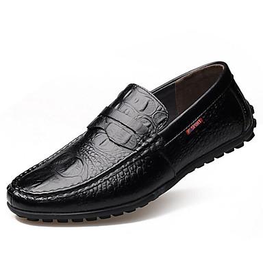 Homme Chaussures Cuir Printemps Automne Ballerines Marche Talon Plat pour De plein air Noir Jaune Marron