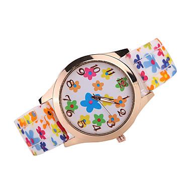 Mulheres Relógio de Moda Quartzo Quartzo Japonês Relógio Casual Silicone Banda Flor Preta Branco Marrom Cores Múltiplas