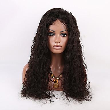 Femme Perruque Naturelle Dentelle Cheveux humains Full Lace Sans Colle Full Lace 150% Densité Ondulation Naturelle Perruque Marron foncé
