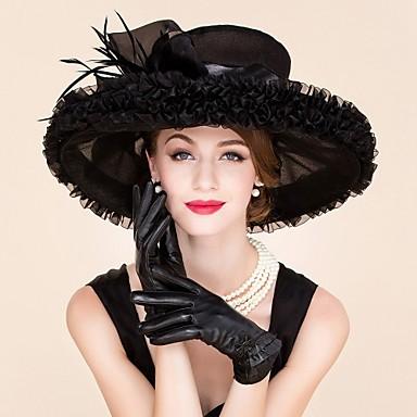 feather organza fascinators hats headpiece estilo femenino clásico