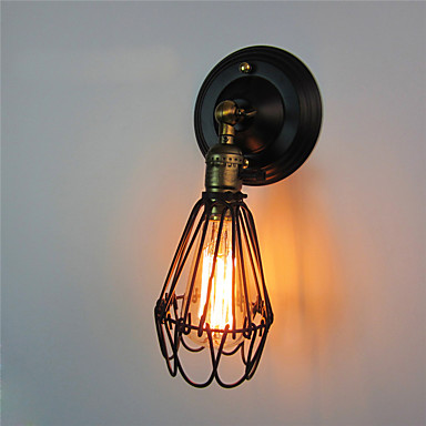 Vintage Wall Light Industrial Wall Sconce Black Metal  Cage Wall Light With Switch